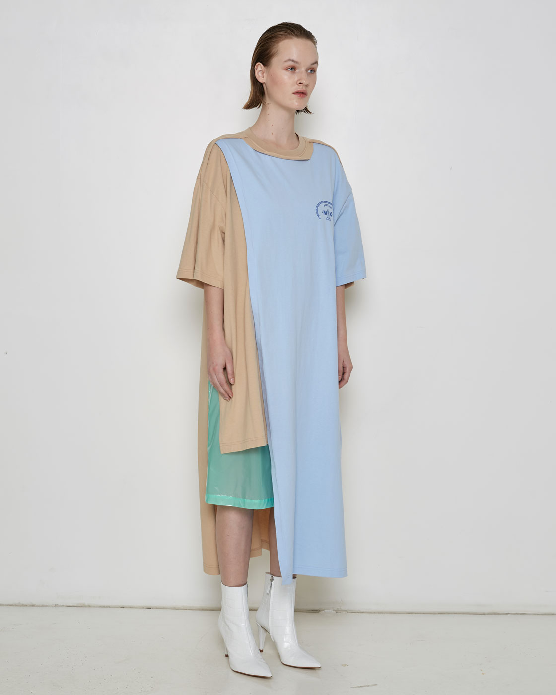 Blue/Beige Multi Structured 'Visitor' T-shirt Dress