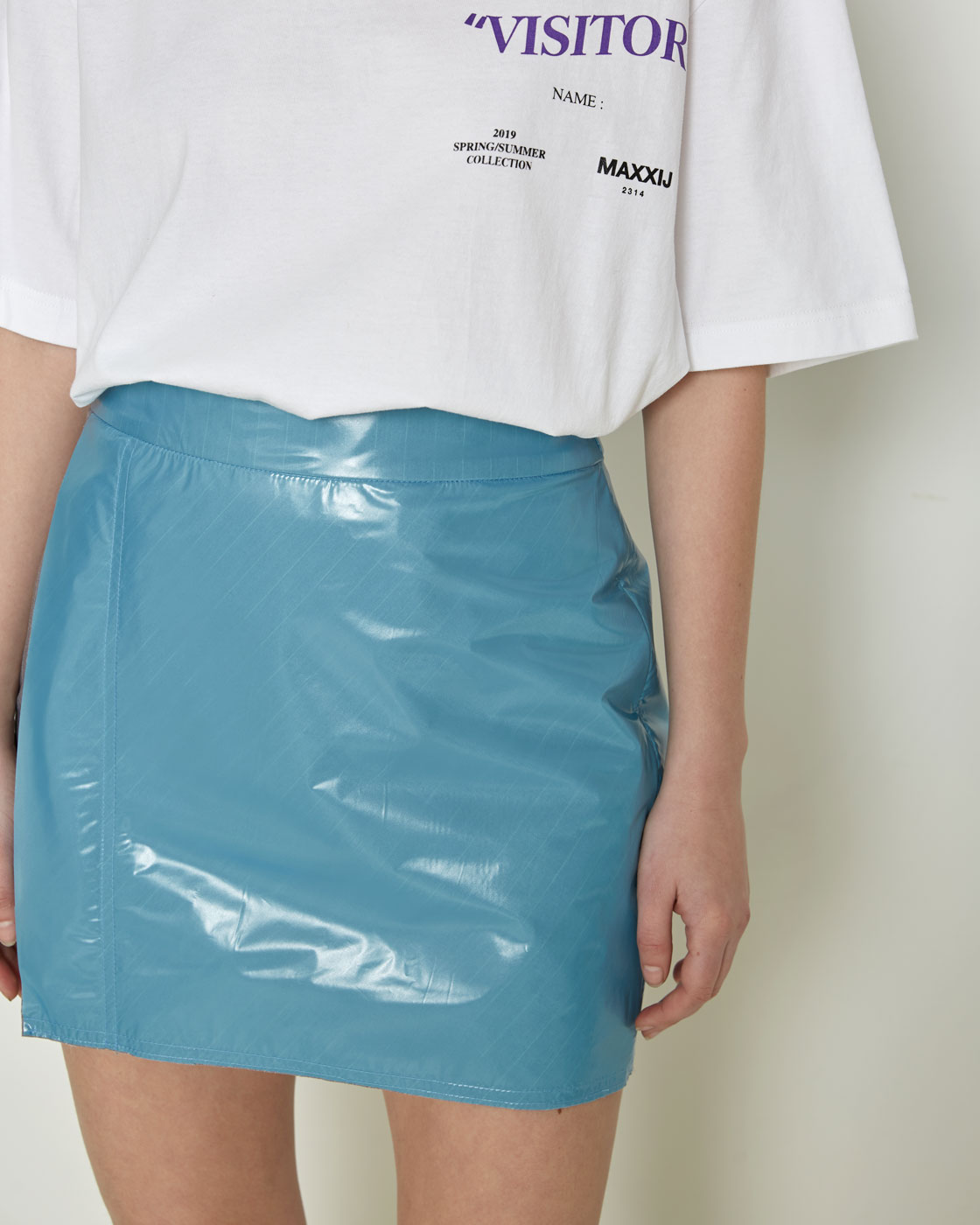 Sky Blue Laminated Covered Miniskirt