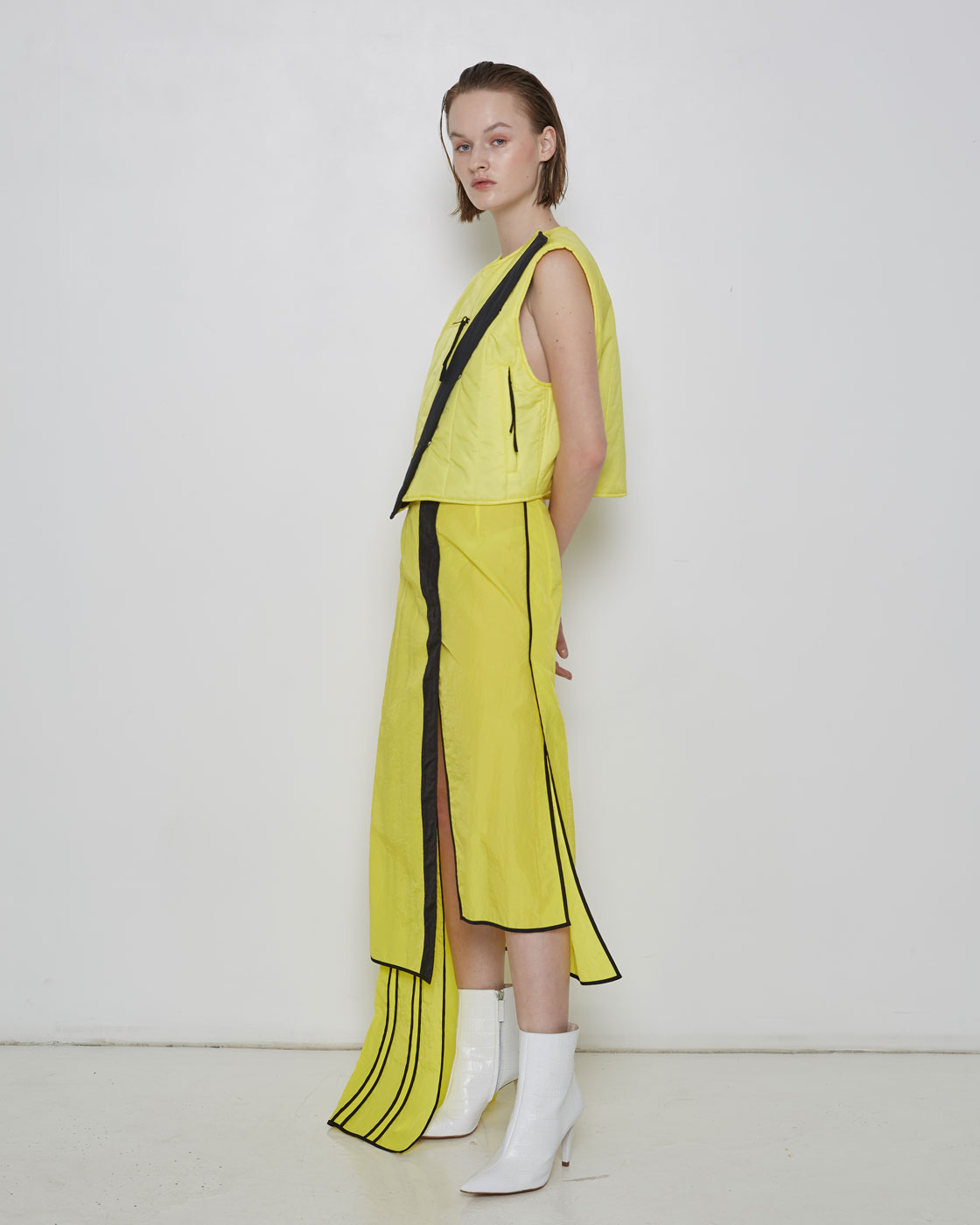 Light Weight Yellow Layerd Skirt