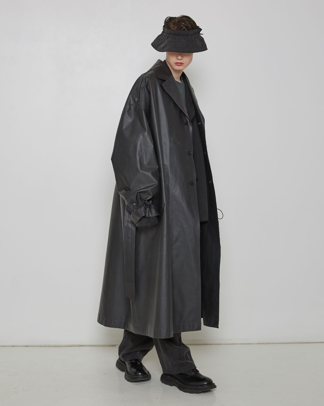 Waterproof Back Sided Black Oversized Coat