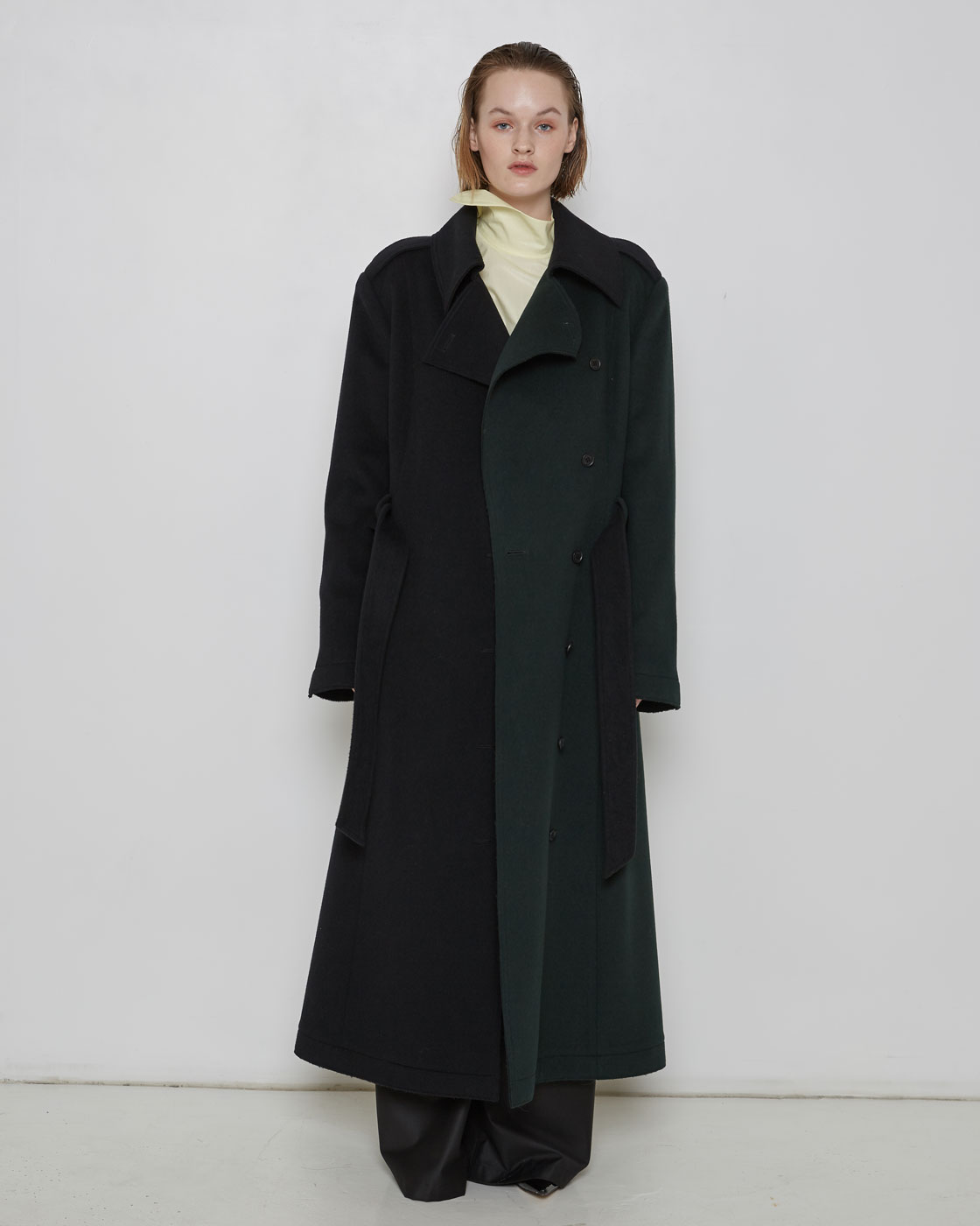 Color Insert Wool Blended Flare Coat