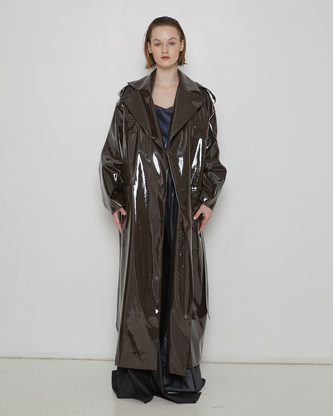 Brown Laminated Oversized Coat