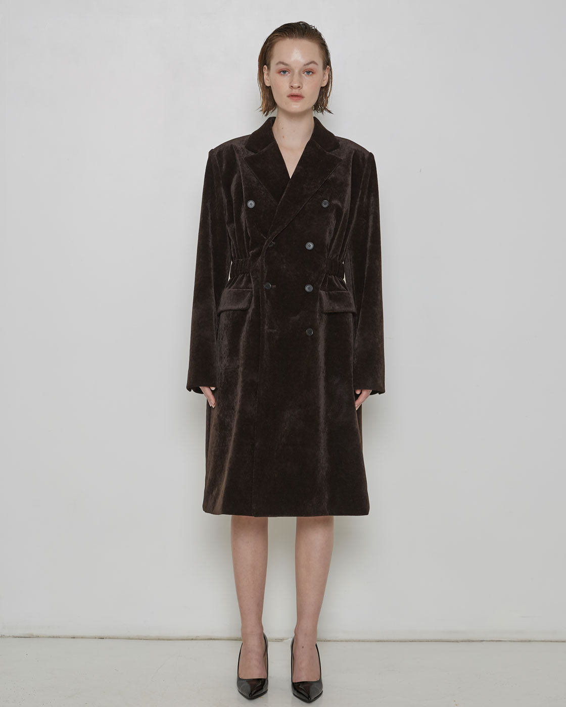 Dark Brown Waist Banding Coat