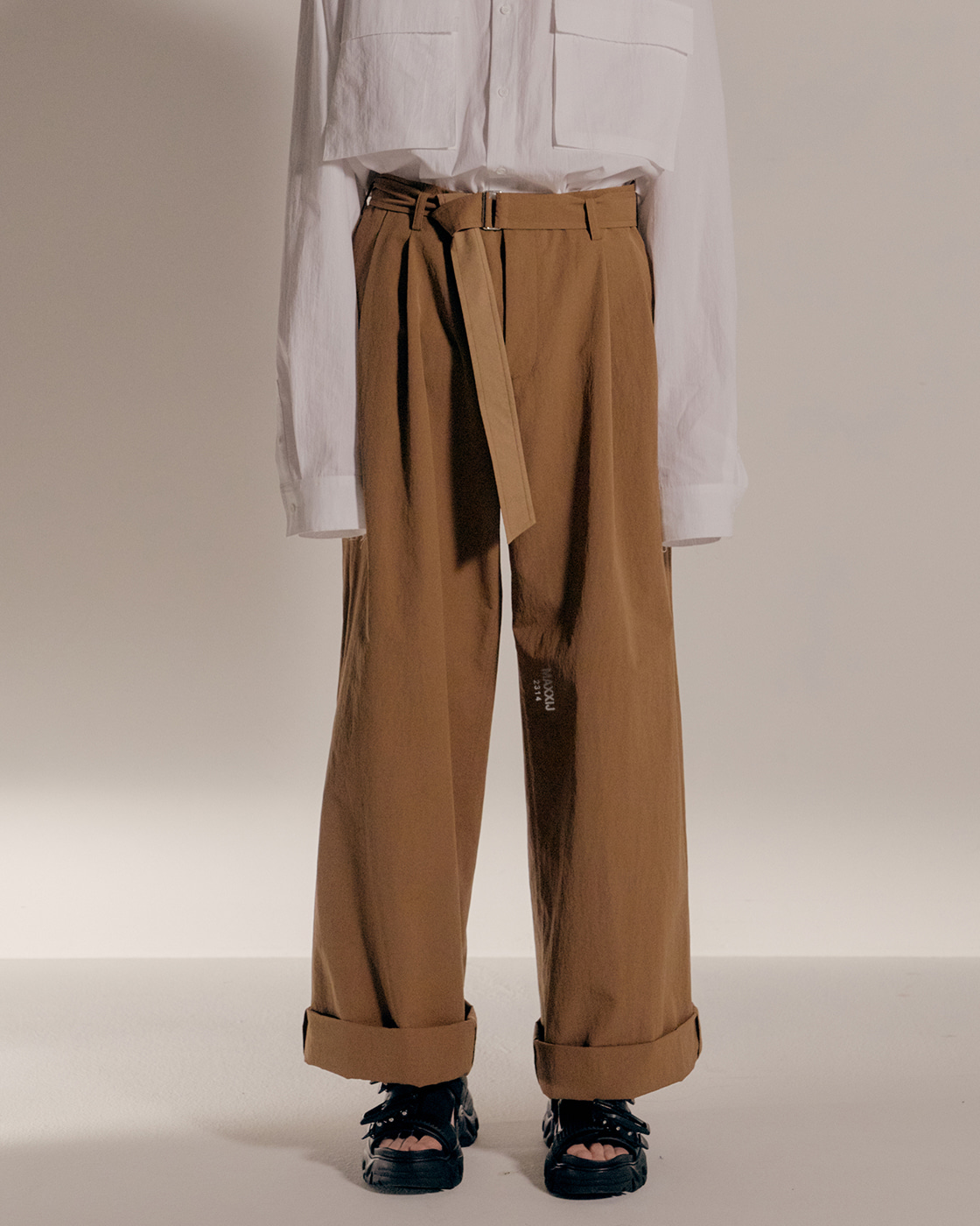 Brown Cotton Nylon Loose Trousers
