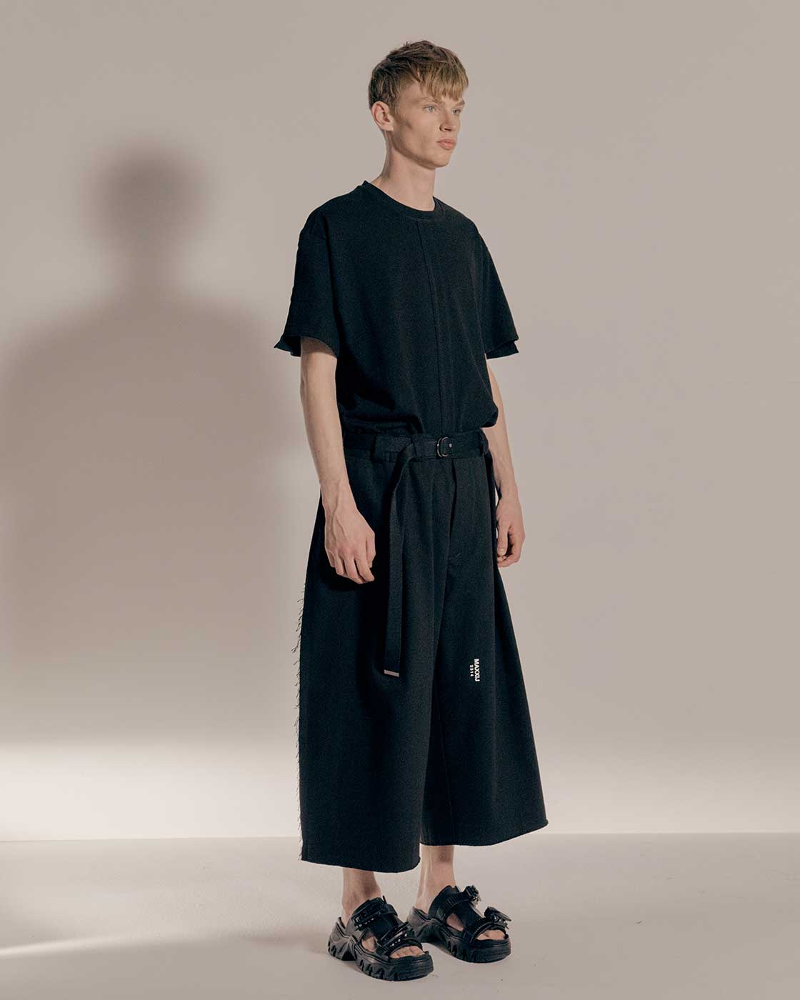 Black Denim Raw-edge Oversized Trousers