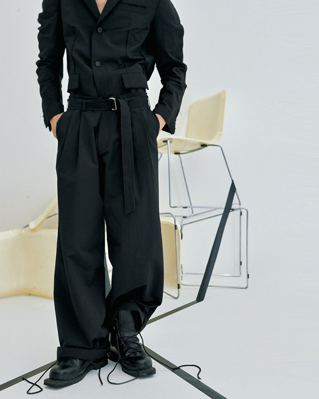 Black Cotton Nylon Loose Trousers
