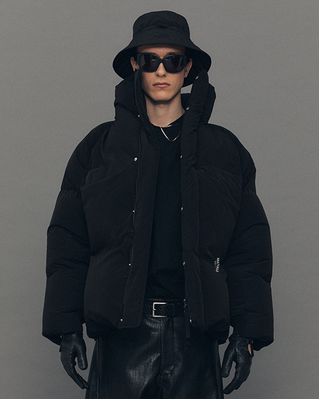 Black Puffy Duck Down Short Parka
