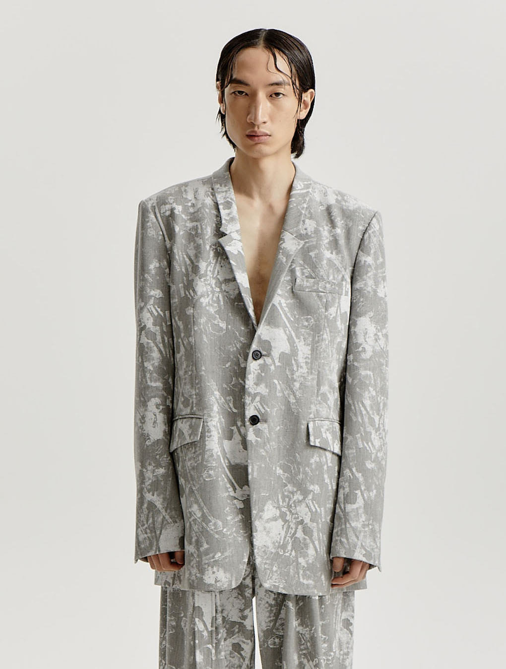 Grey White Scattered Printed Signature Collar Blazer
