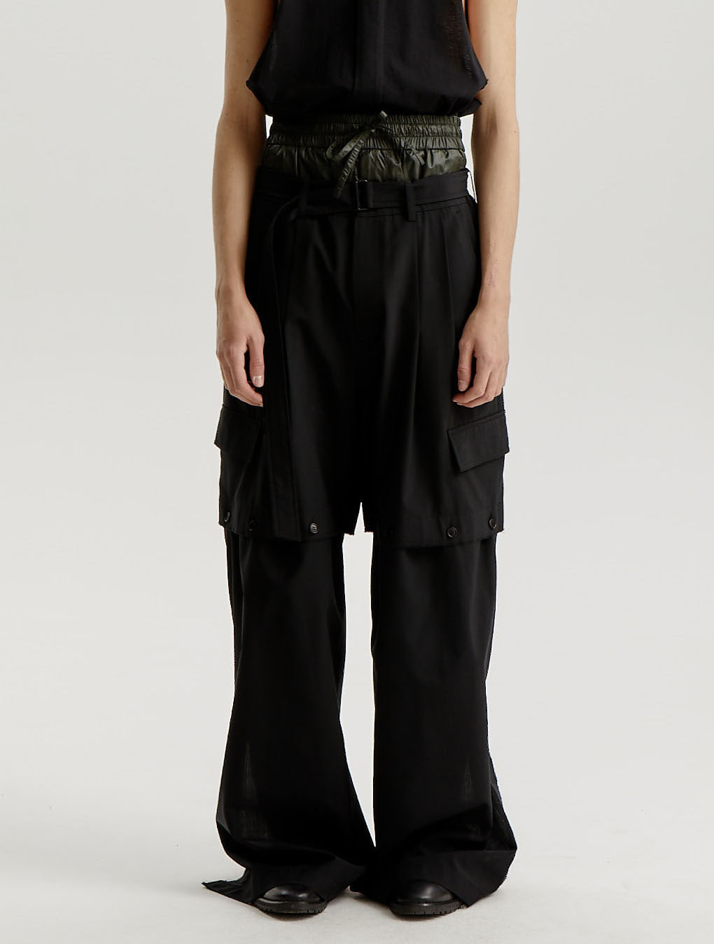 Black Wool Polyester Detachable Trousers