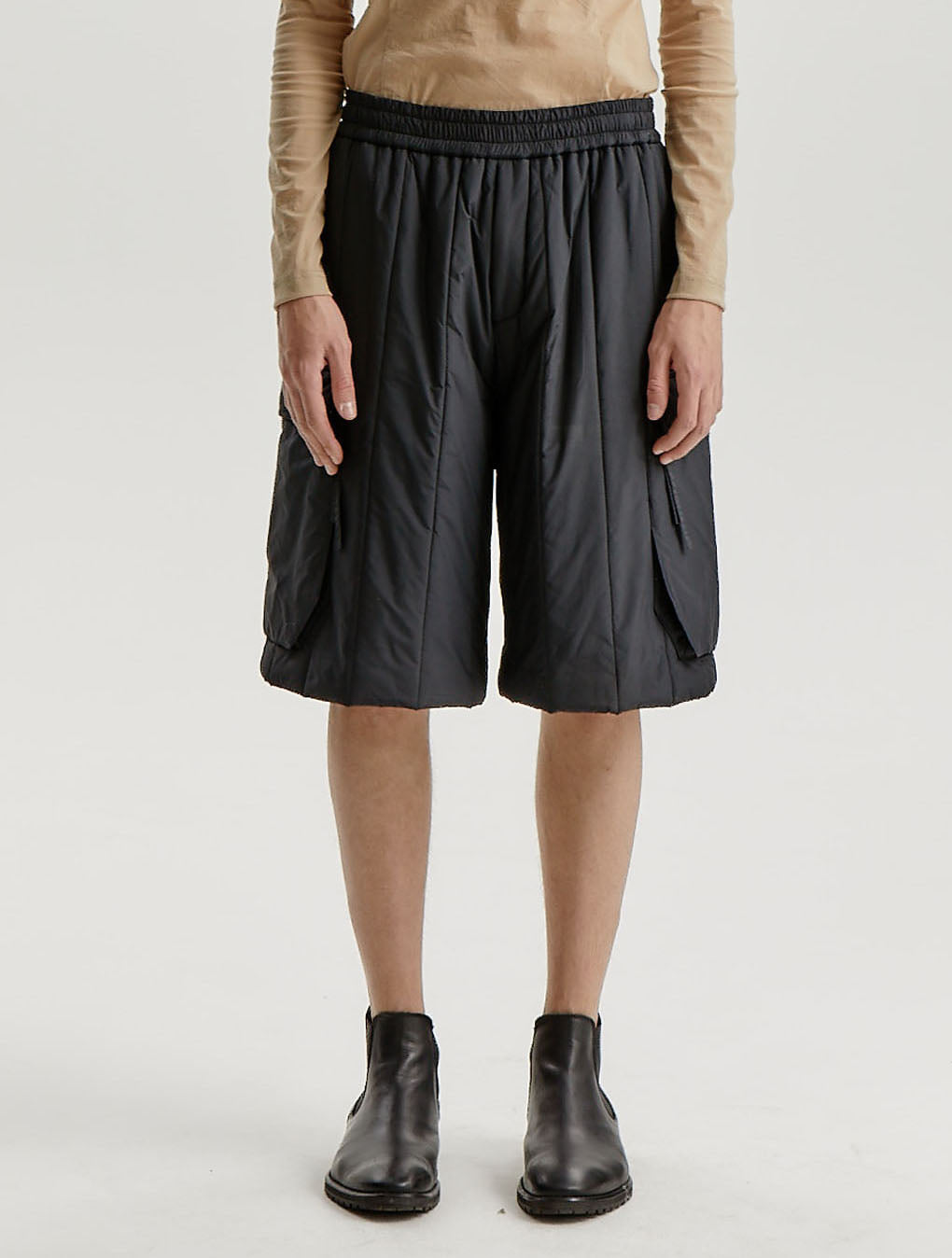 Black Quilted Military Cargo Shorts