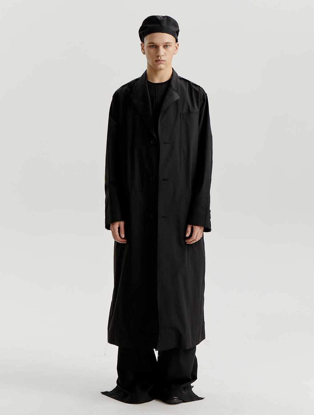 Black Cotton Nylon Distressed Edge Coat