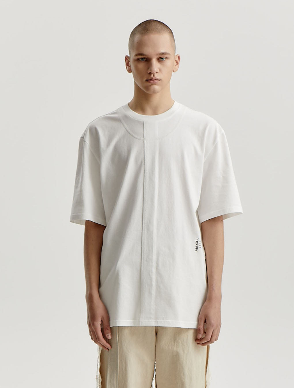 White Signature Raw Edge Double Stitched Jersey T-shirt