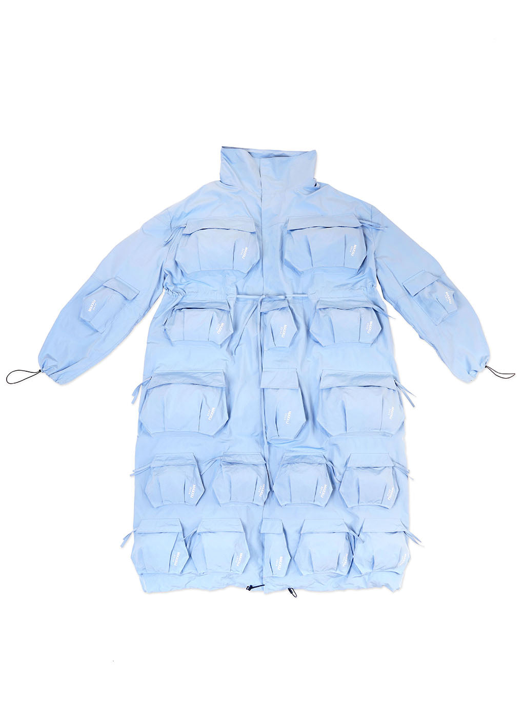 Sky Blue Multi Cargo Pocket Oversized Coat