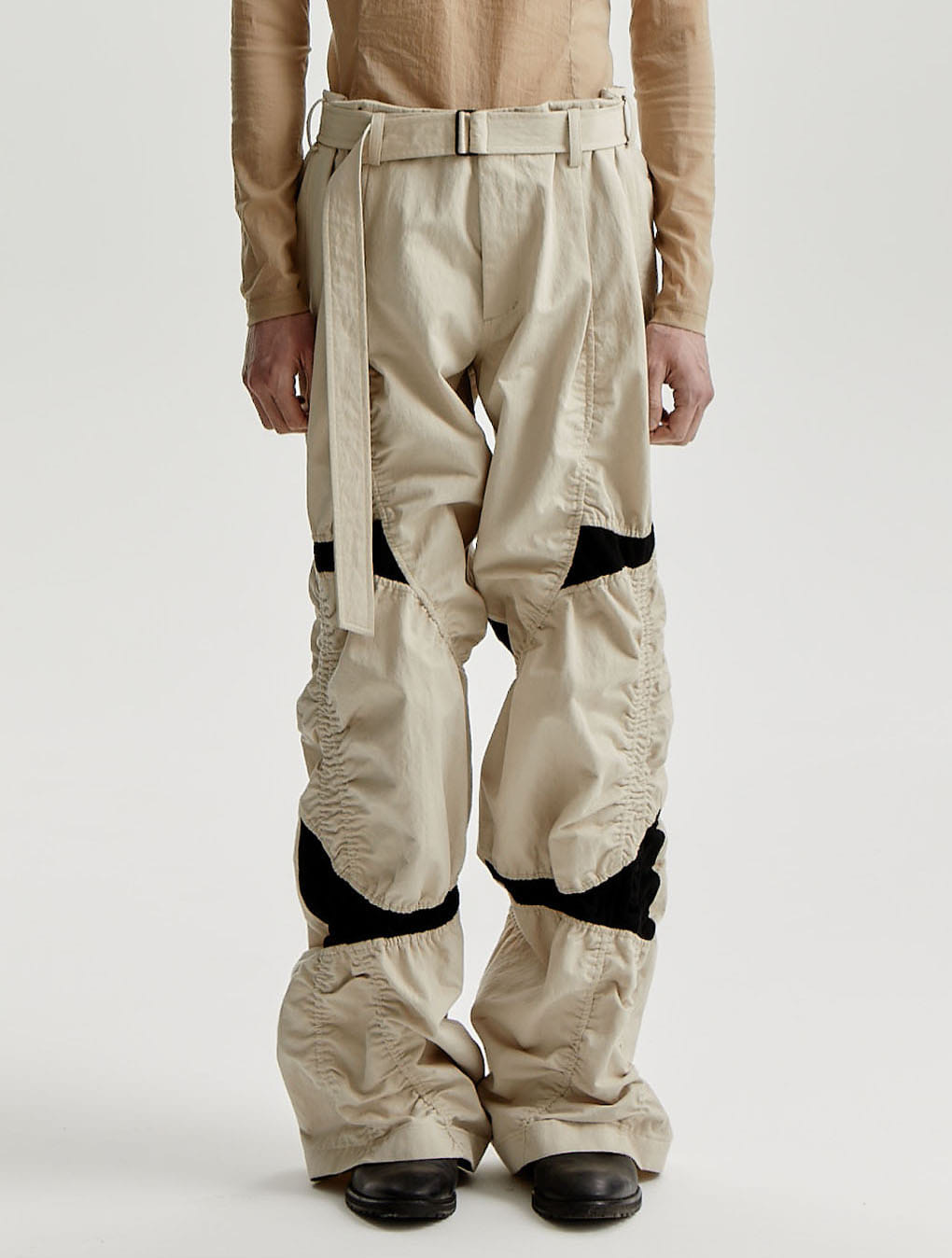 Black/Beige Color Blocking Panel Wide Trousers