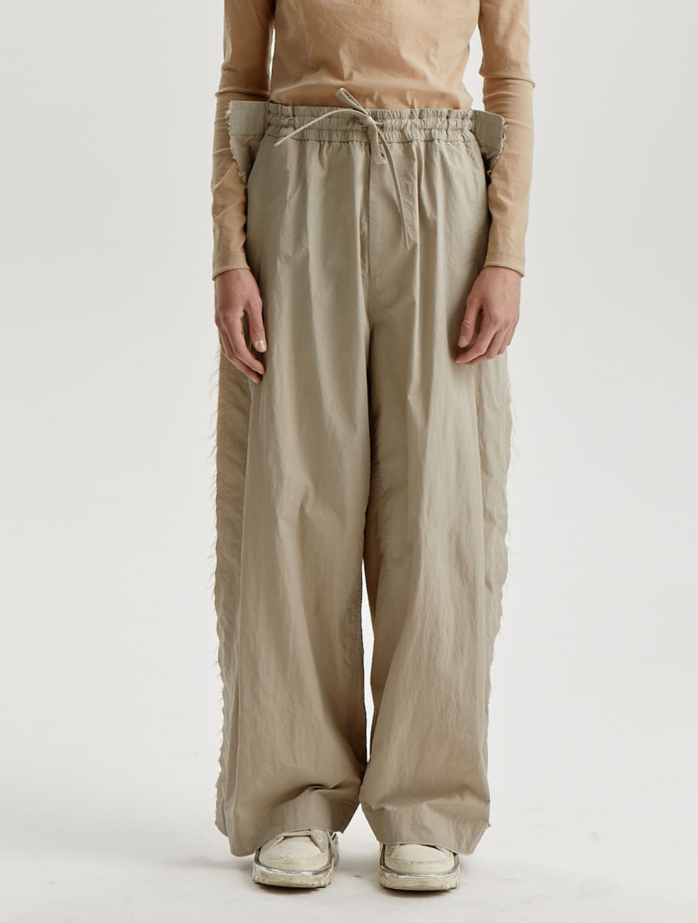 Beige Nylon Distressed Wide Trousers