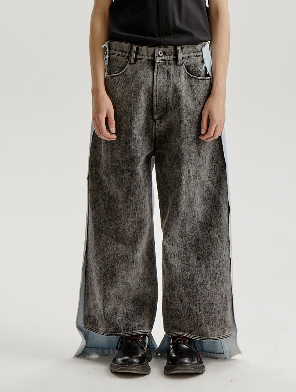 Stone Washed Black/Ice Blue Contrast Trousers