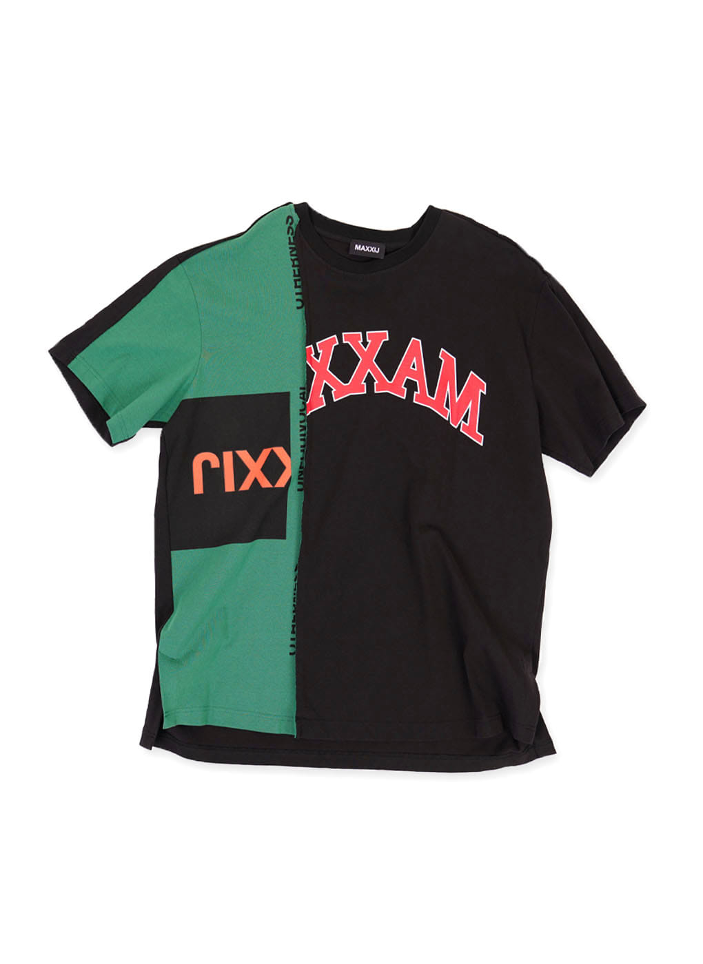 Green/Black Color Block Collage Printed T-shirt