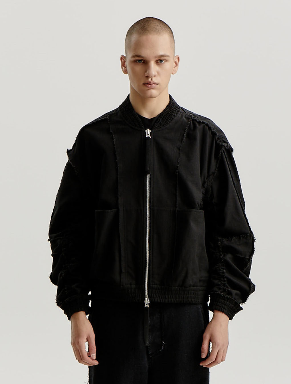 Black Cotton Inside Out Bomber Jacket