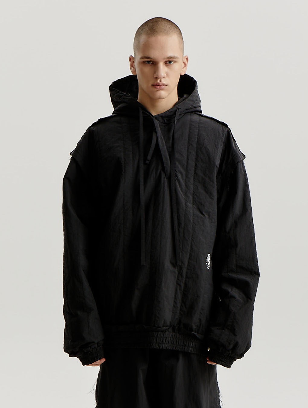 Black Nylon Quilting Stitched Diagonal Zip Up Hoodie