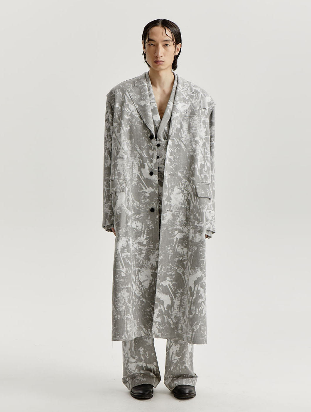 Grey White Scattered Printed Coat