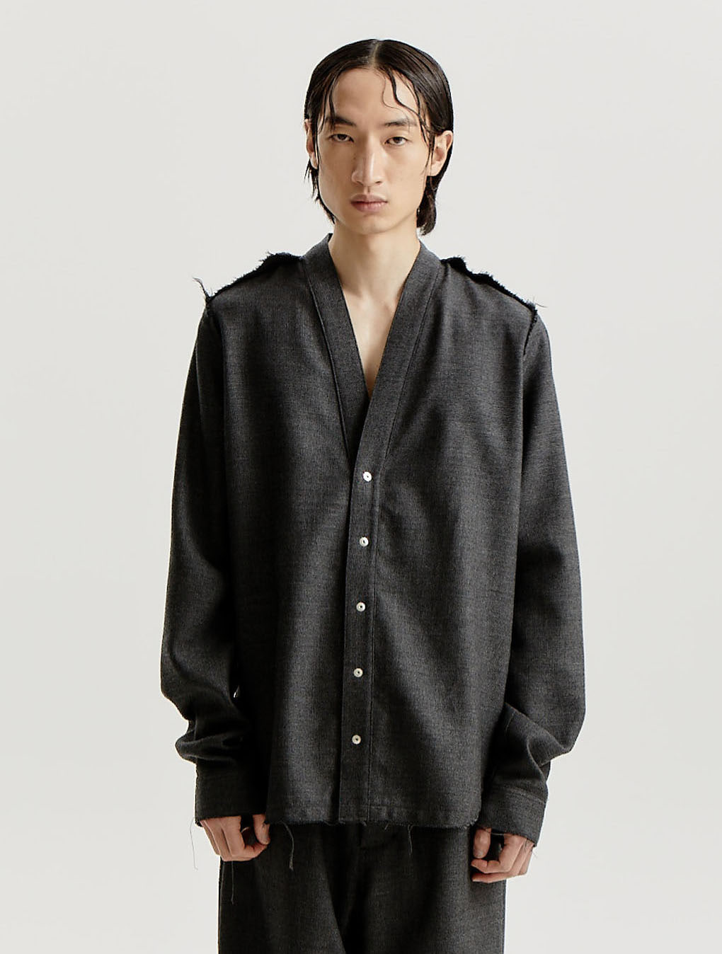 Dark Grey Wool Woven Distressed Edge Cardigan