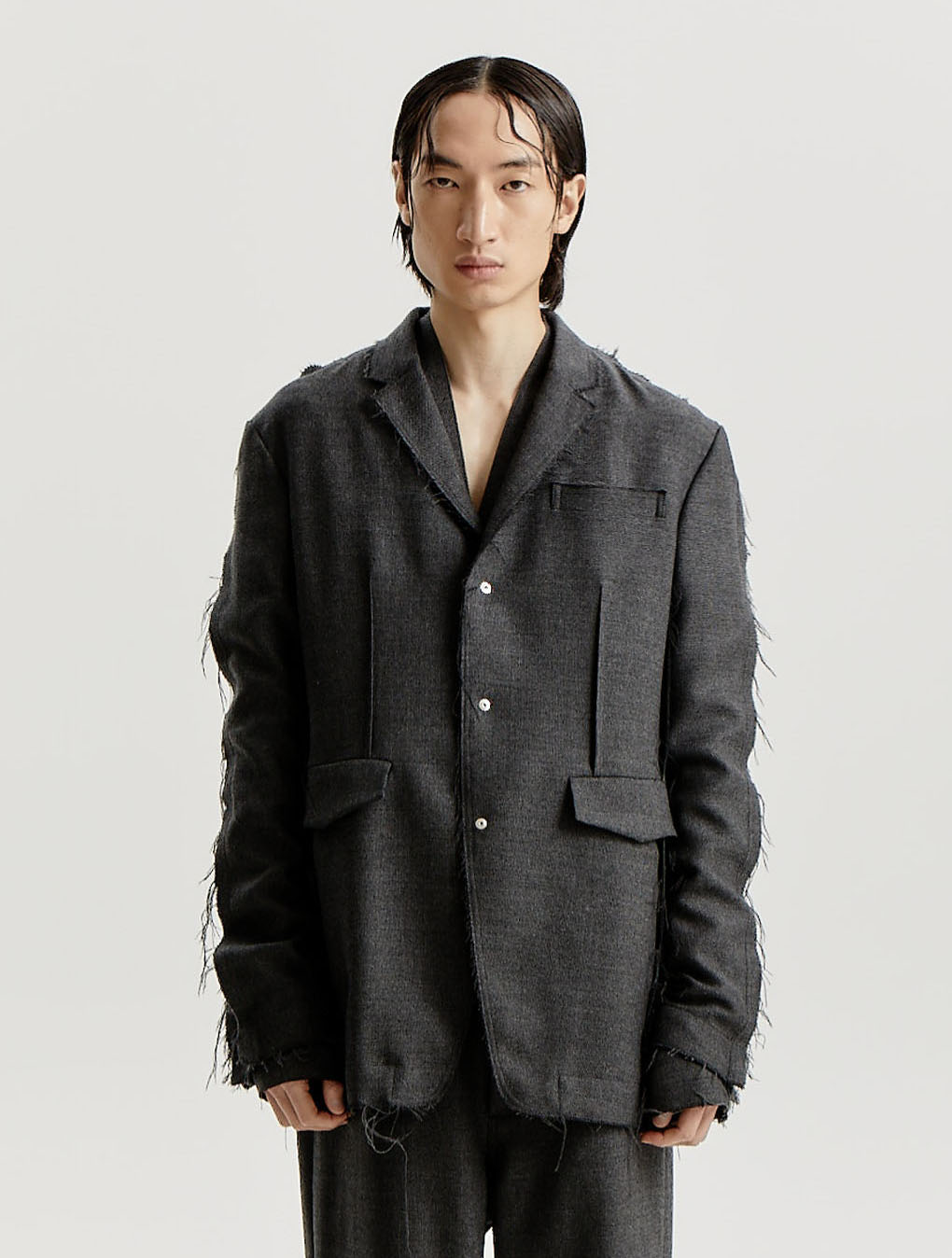 Dark Grey Wool Woven Inside Out Distressed Long Blazer