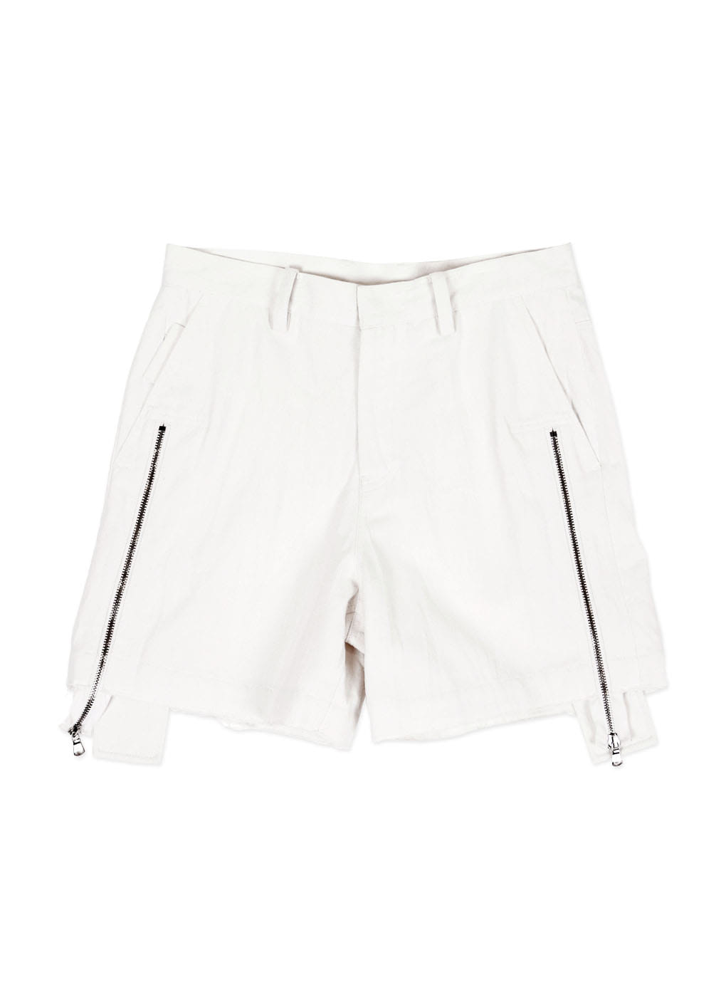 White Denim Zipper Shorts