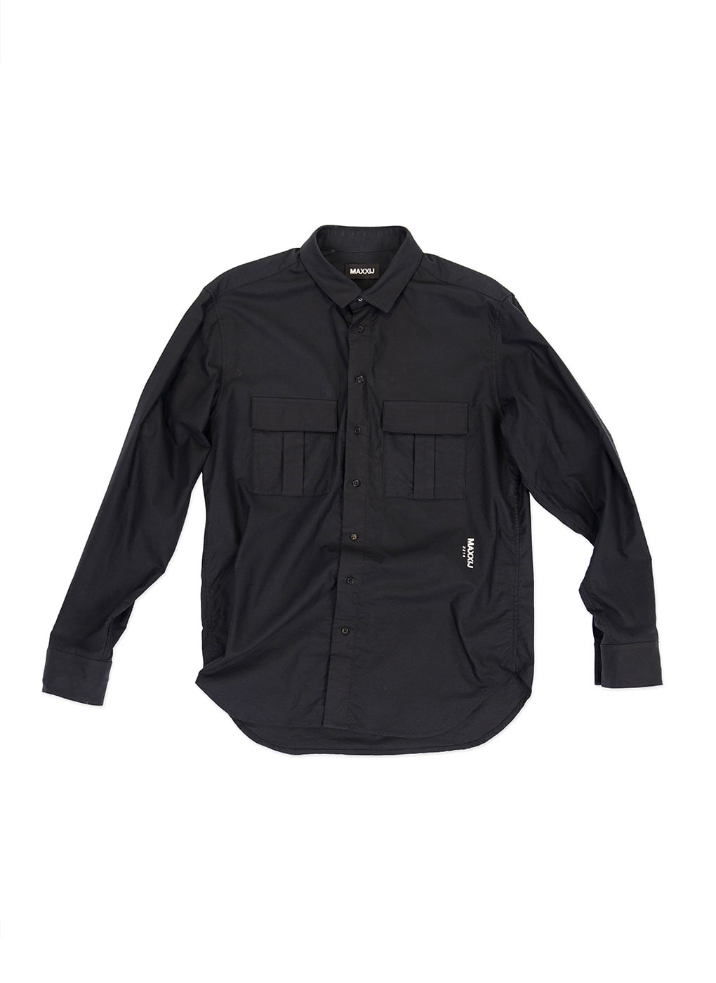 Black Military Button Down Oxford Shirt