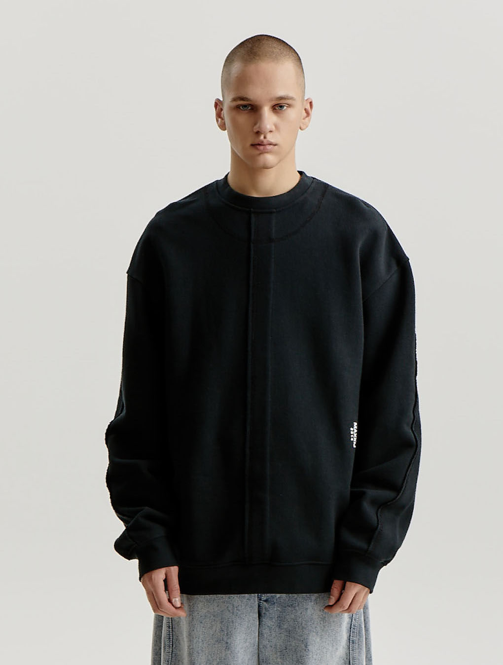 Black Signature Raw Edge Line Sweatshirt