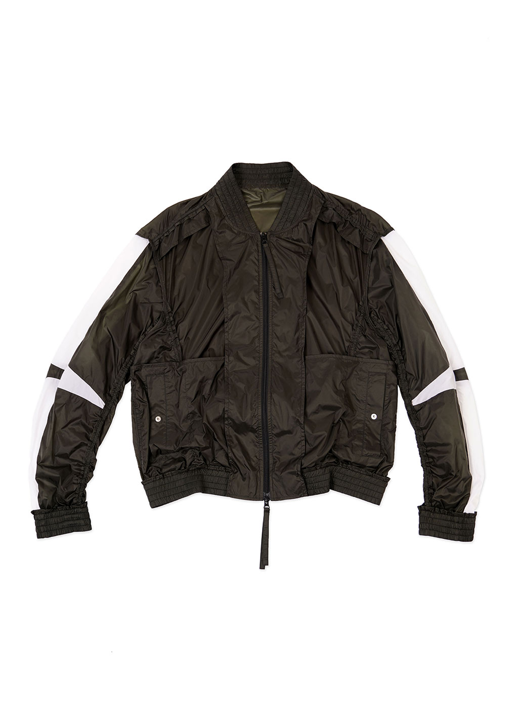 Khaki/White Contrast Panel Inside Out Bomber Jacket
