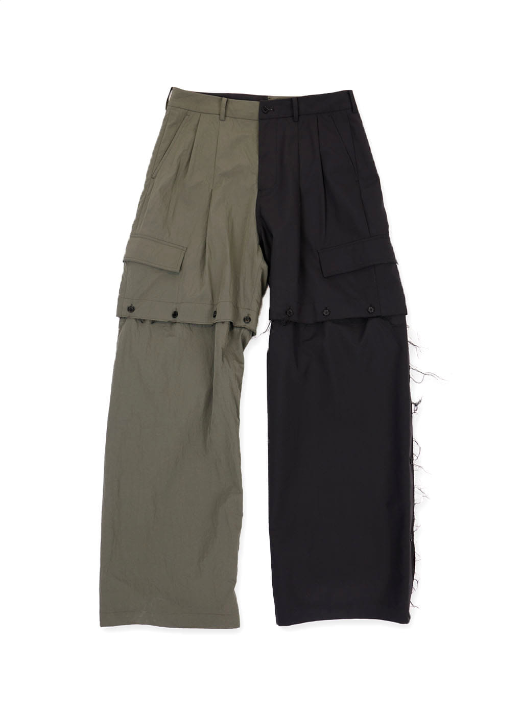Black/Khaki Fabric Contrast Detachable Panel Pants