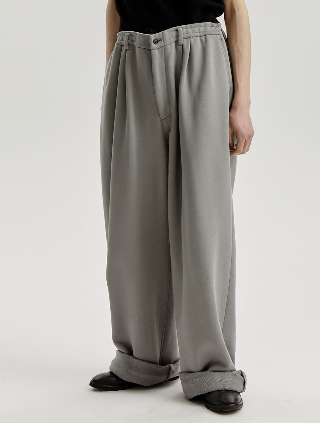 Steel Grey Jersey Comfy Wide Trousers
