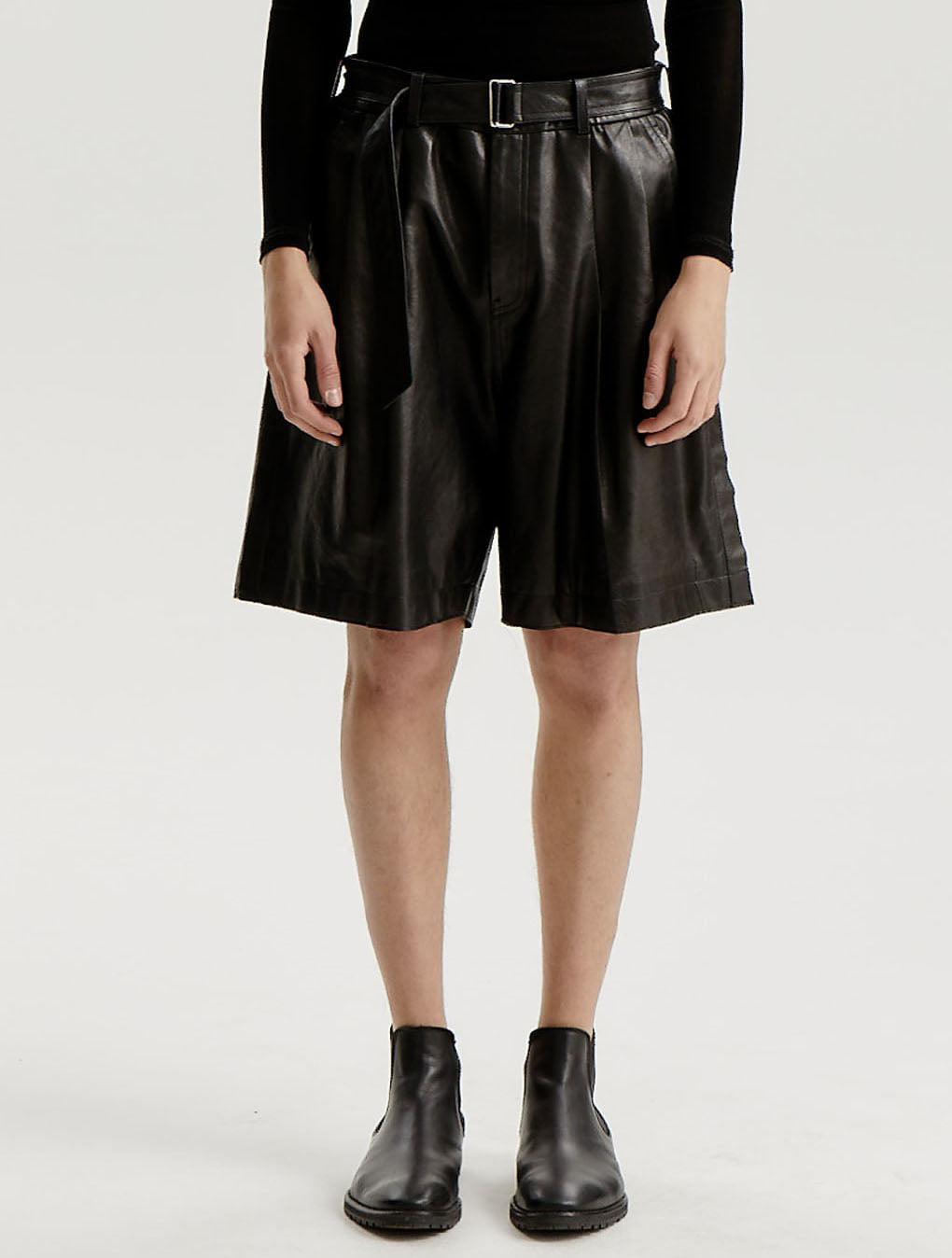Black Lamb Skin Folded Tuck Side Seam Out Leather Shorts