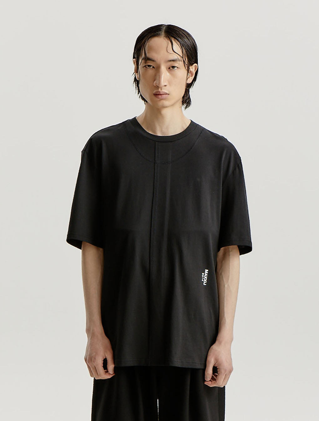 Black Signature Raw Edge Double Stitched Jersey T-shirt