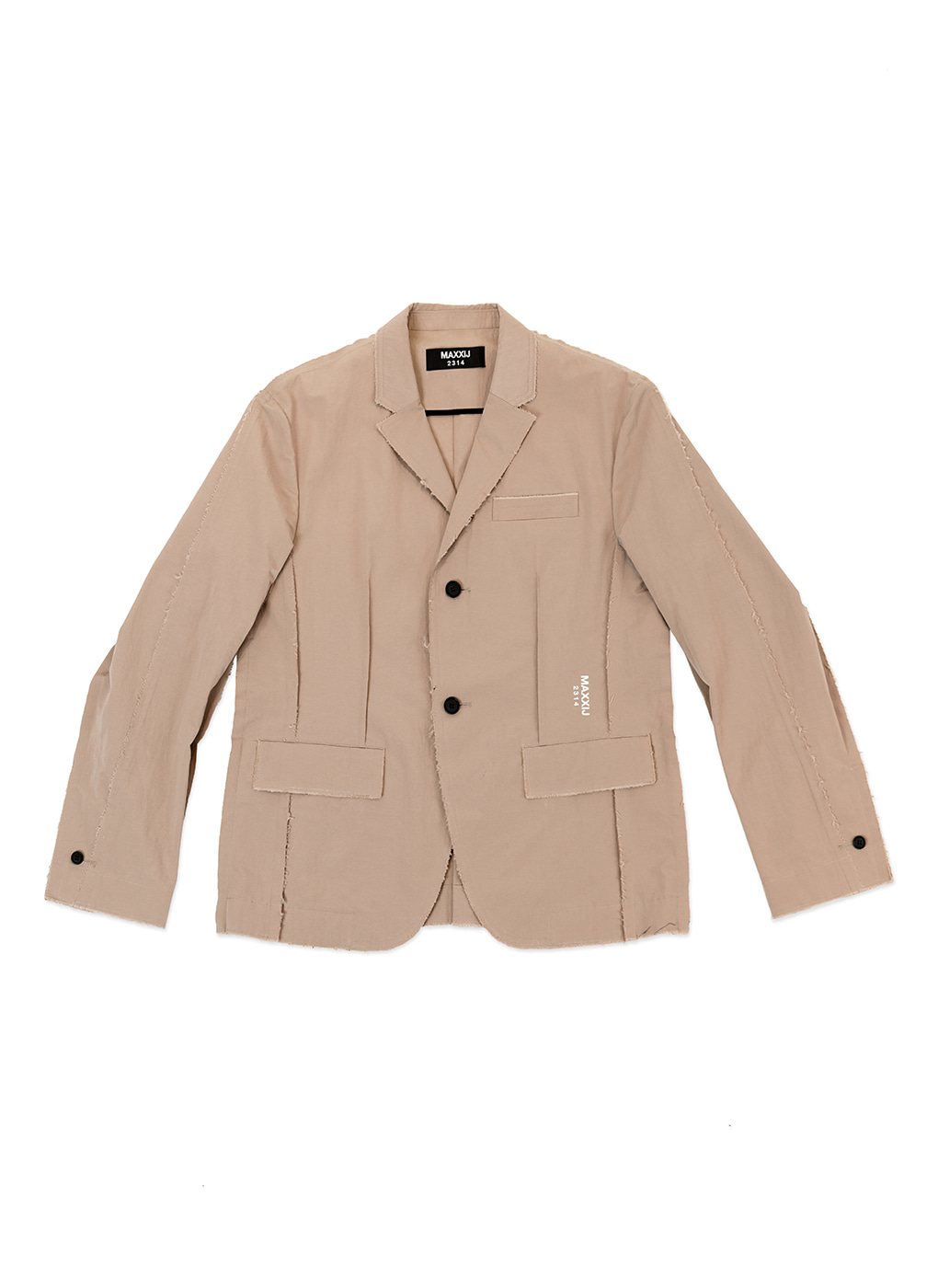 Beige Cotton Nylon Insideout Seam Binding Blazer