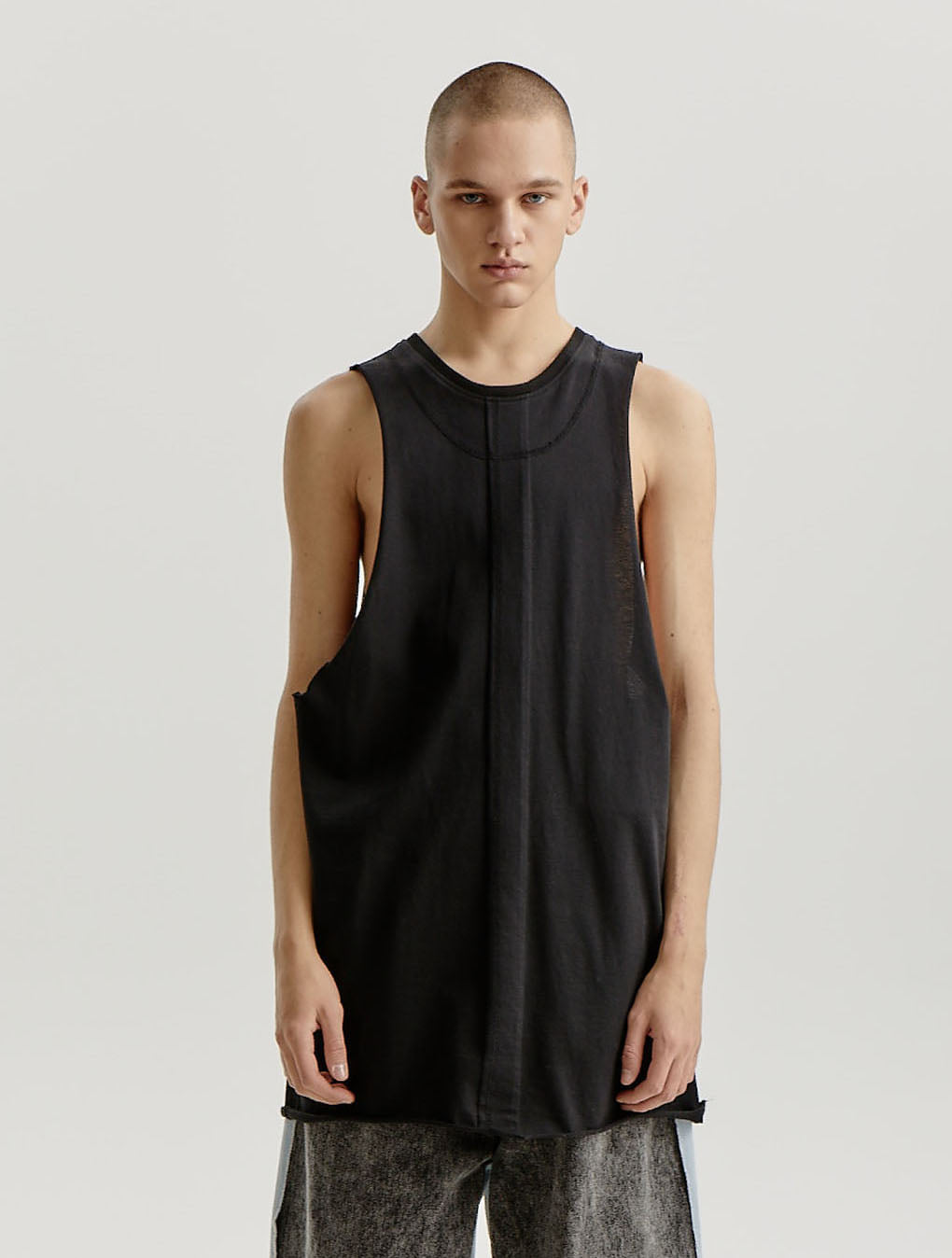 Black Cut Out Top Stitched Sleeveless Jersey T-shirt