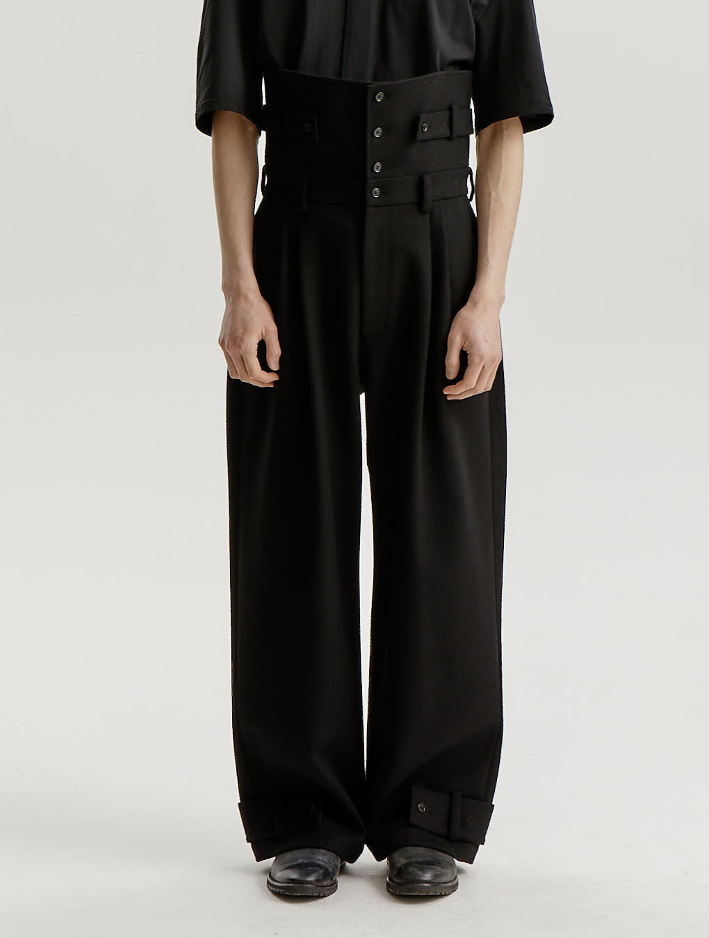 Black Waist Panel Wool Tapered Trousers