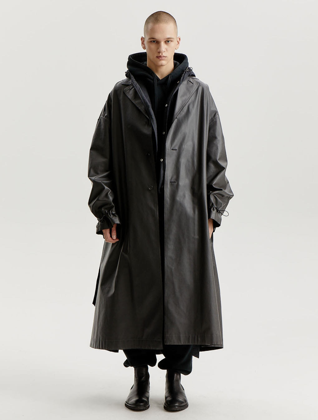 Black Waterproof Back Sided Oversized Coat