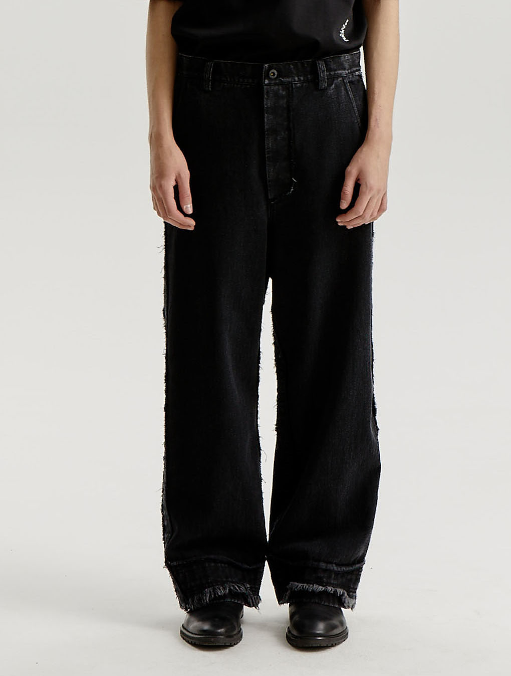 Stone Washed Black Straight Loose Jeans