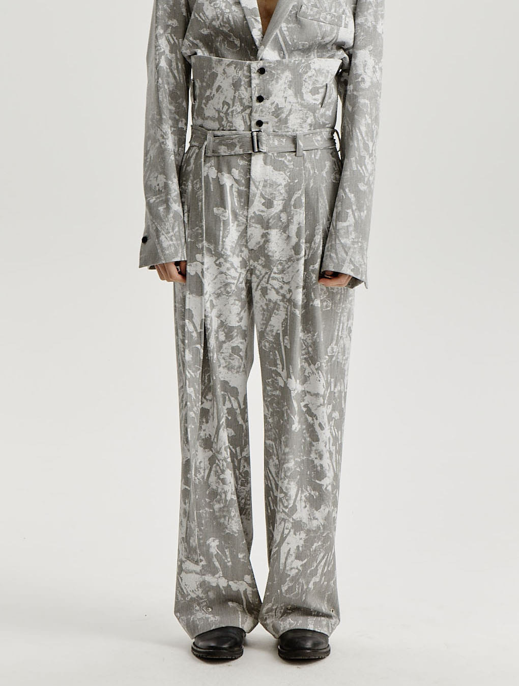 Grey White Scattered Printed Button-up Tapered Trousers