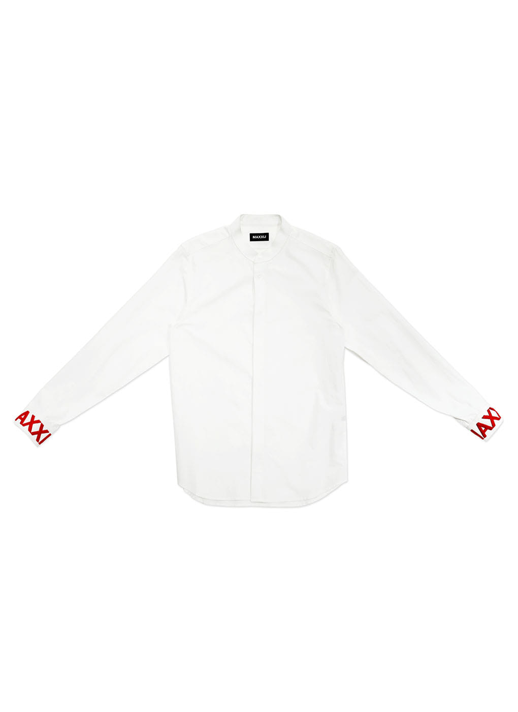White Stand Collar Shirt With Cuff Embroidery