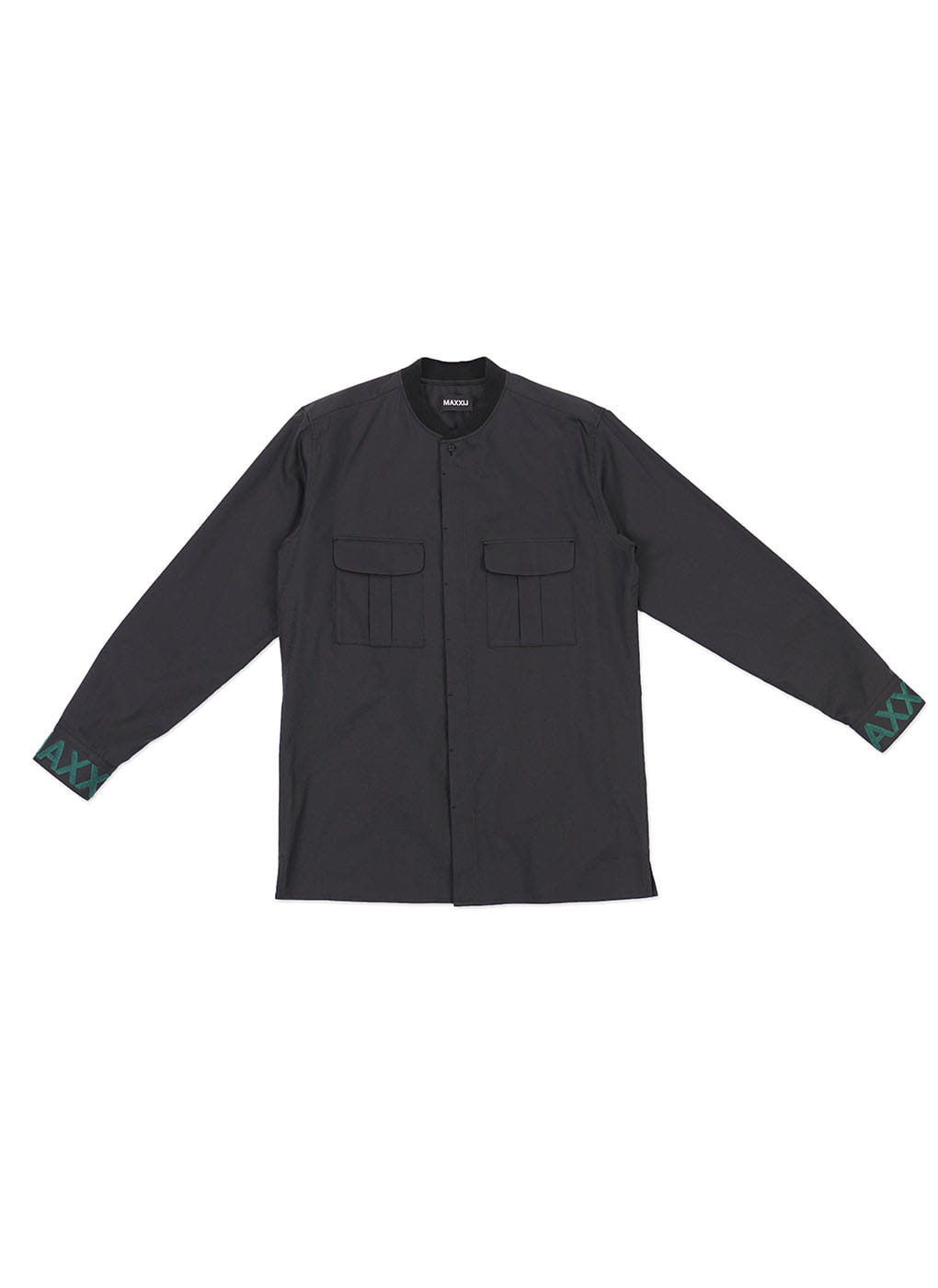 Dark Navy Military Bomber Neck Shirt With Cuff Embroidery