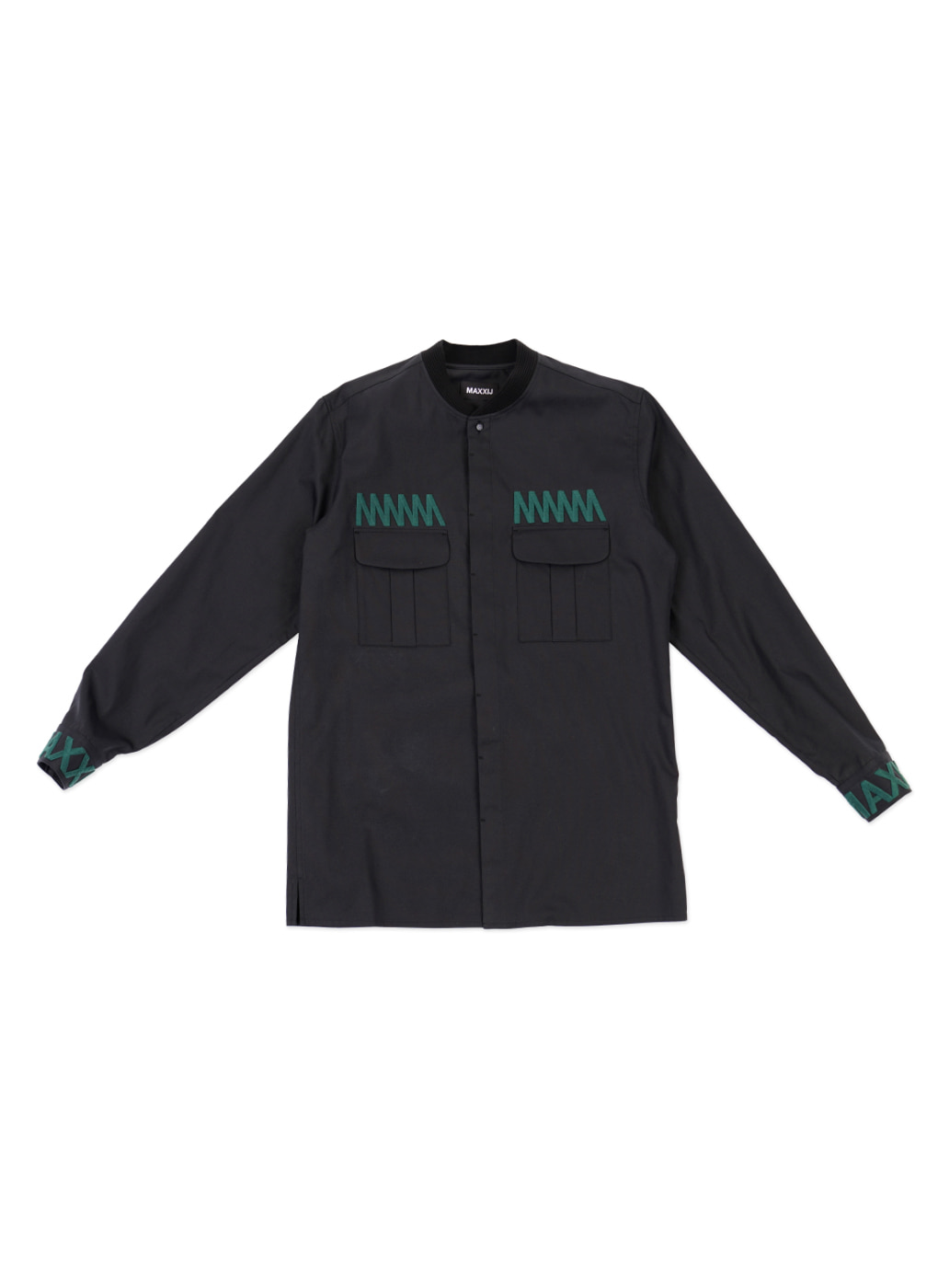 Military Bomber Neck Shirt with Chest Embroidered Dark Navy