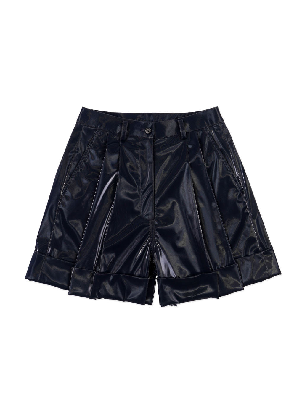 Glossy Navy Roll-up Wide Shorts