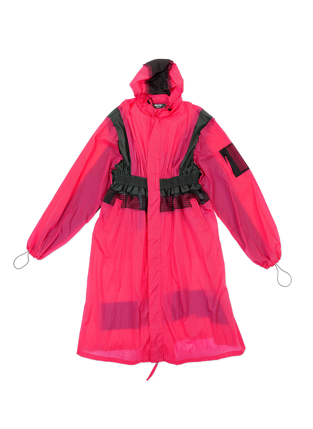 Color Contrast Multi Blocking Rain Coat
