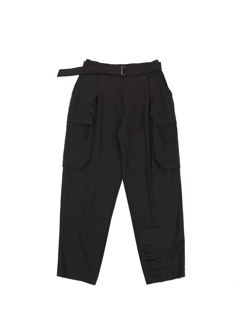 Black Brushed Tencel Cargo Trousers