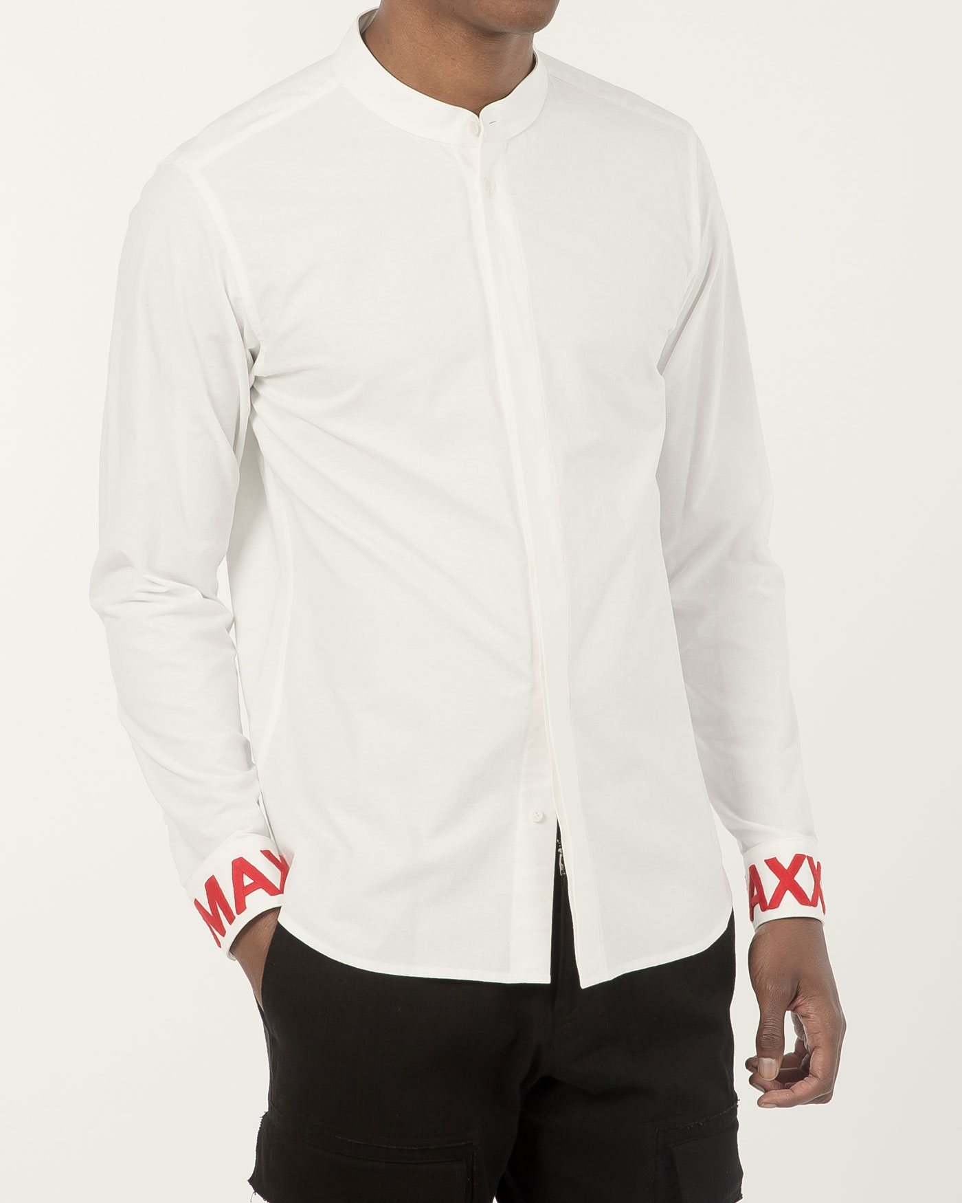 Stand Collar shirt with Cuff Embroidered