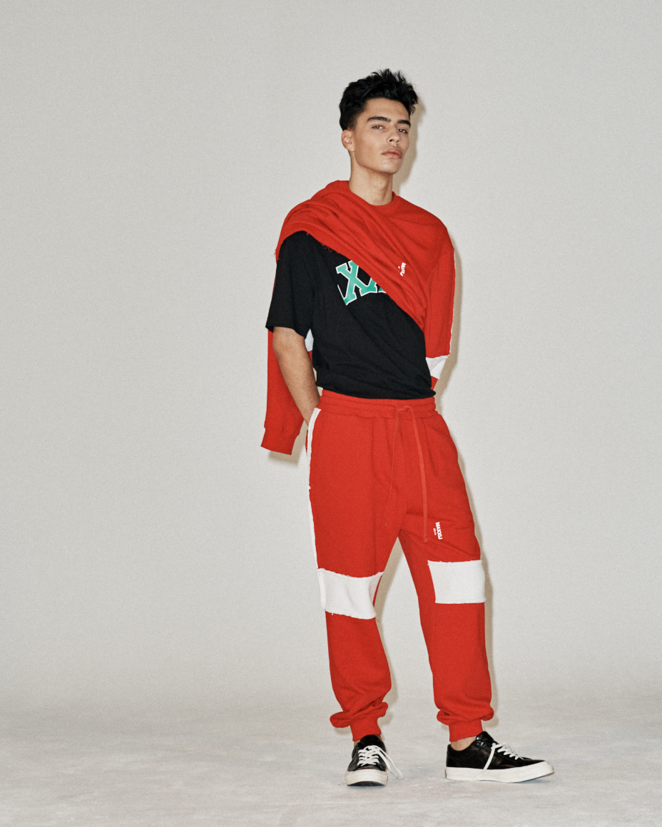 Raw Contrast Blocking Track Sweatpants