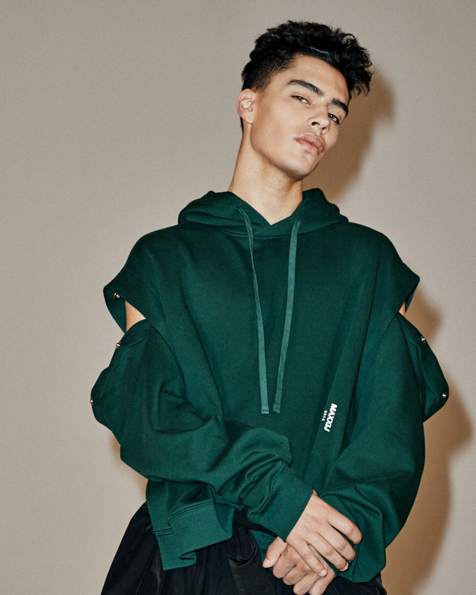 Detachable Sleeve Hoodie Sweatshirt Dark Green