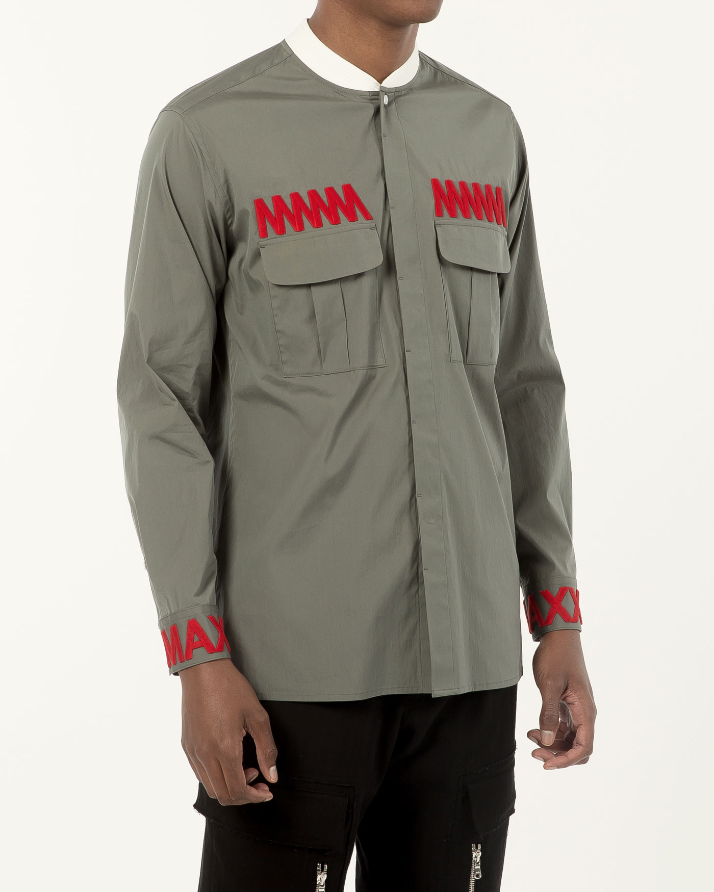 Military Bomber Neck Shirt with Chest Embroidered Blue Khaki
